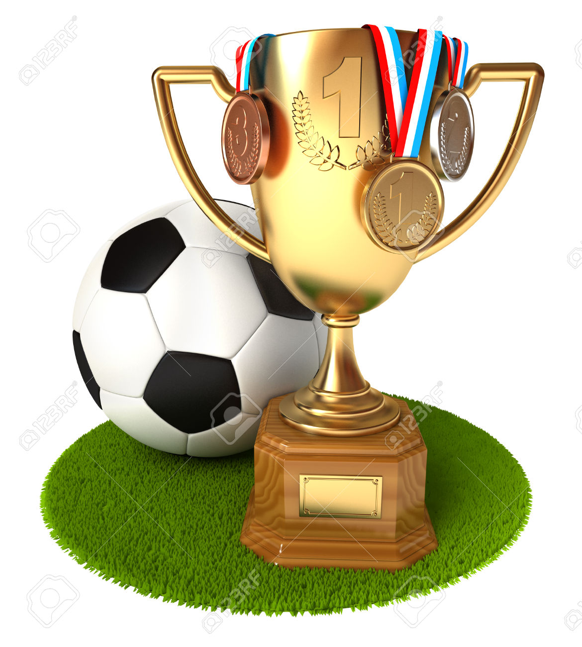 Gold Cup with medals and soccer ball. Conceptual illustration. Isolated on white background. 3d render
